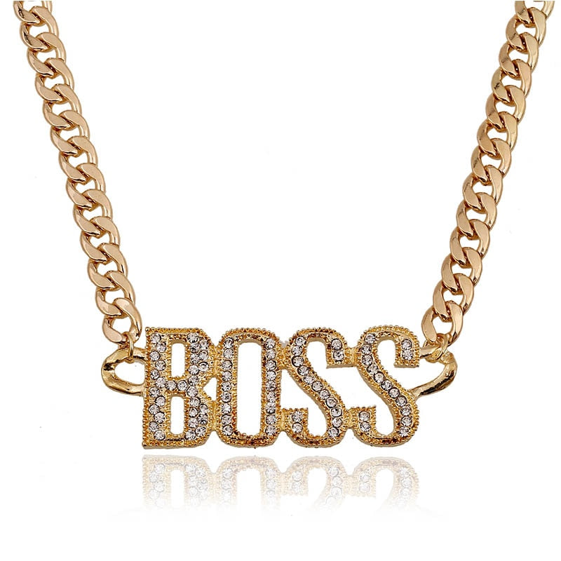 Punk Crystal Letter Boss Pendant Necklace