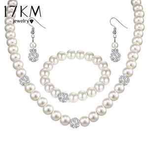 17KM Sliver Color Simulated Pearl Jewelry Sets For Women Vintage Necklace Crystal Earrings Bracelet Party Wedding Accessories
