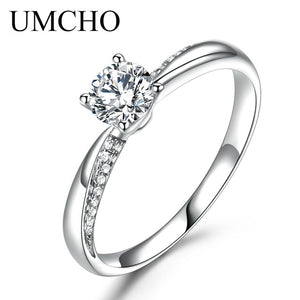 UMCHO Solid 18k White Gold Natural Diamond Moissanite Rings for Women Forever Round Solitaire Engagement Wedding Ring Band Gift