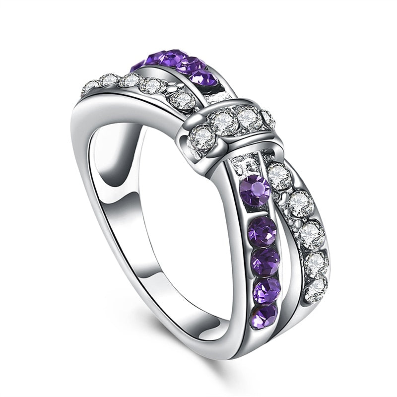 Bowknot Purple Rhinestone Ring