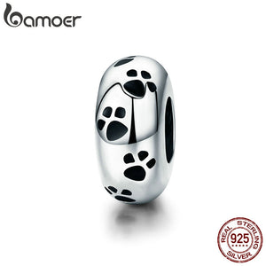 BAMOER New Arrival 100% 925 Sterling Silver Dog Animal Footprint Spacer Beads fit Charm Bracelet & Necklace DIY Jewelry SCC594