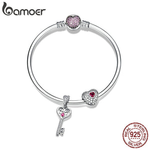 BAMOER Authentic 925 Sterling Silver Sweet Heart Love Key Shape Charm Bracelets for Women CZ Sterling Silver Jewelry SCB817