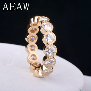 1.8 CTW 3MM DF Moissanite Full Eternity Engagement Band 14K Yellow Gold for Women Fine Jewelry