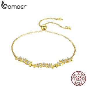 BAMOER Authentic 925 Sterling Silver Olive Leaf Clear Cubic Zircon Chain Link Women Bracelets Sterling Silver Jewelry BSB009
