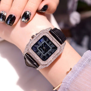 2019 Fashion Brand Women Square Bracelet Watches Ladies Top Luxury Leather Strap Rhinestone Quartz Watch New Women Casual Clock