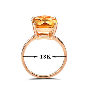 18k Natural Citrine Rose Gold Ring Elegant And Beautiful Minimalism Affordable Price Women Girl Party 2017 New Fine Good