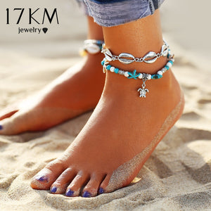 17KM 3 Design Vintage Multi Layer Turtle Shell Starfish Anklets For Women Bohemian Beads Charm Anklet Bracelets Fashion Jewelry