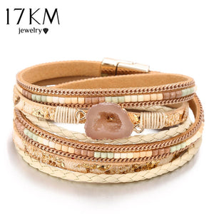 17KM 3 Style Bohemian Beads Stone Charm Bracelets For Women Weave Rope Leather Multiple Layers Bracelet Jewelry Drop Shipping