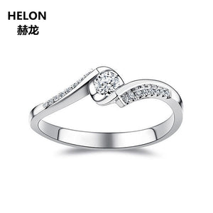 0.15ct SI/H Natural Diamonds Engagement Wedding Ring for Women Solid 14k White Gold Anniversary Party Fine Ring Lover Gift