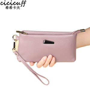 CICICUFF Genuine Cow Leather Women Small Bag Female Change Purse Fashion Shell Solid Clutch Bags Wristlets Handbag can put phone