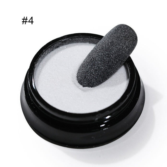 2g Shining Sugar Nail Powder White Black Nail Glitter Pigment Dust Holographic Laser for Gel Polish Decoration Tips