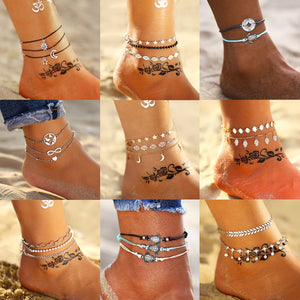 17KM Fashion Bohemian DIY Sliver Anklet Set For Women New Gold Leaves Map Anklets 2019 Bracelet On Leg Barefoot Foot Jewelry