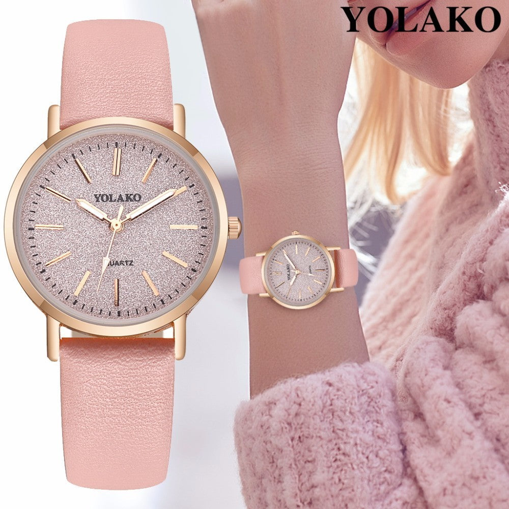 New Fashion Women Romantic Starry Sky Wrist Watch Casual Luxury YOLAKO Brand Leather Rhinestone Watches Clock Relogio Feminino
