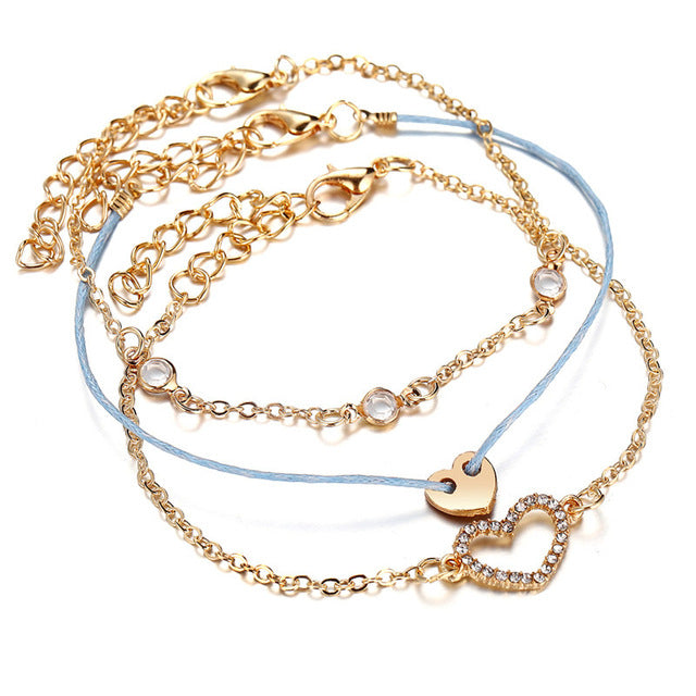 17KM Bohemia Multi layer Bracelet For Women Gold Sliver Color Shell Tassel Cross Bracelets & Bangles 2019 Jewelry Female Gifts