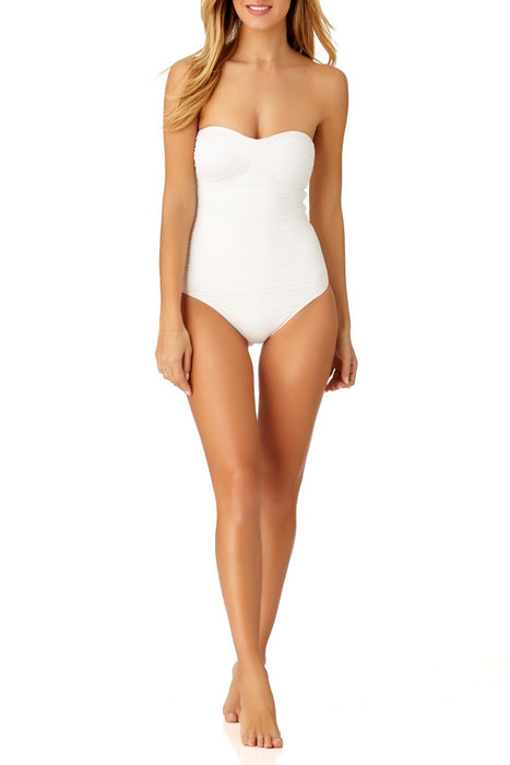 Anne Cole - Live In Color Twist Front Shirred Bandeau One Piece Swimsuit