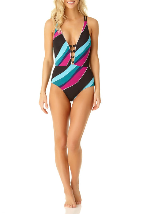 Cole Of California - Pom Pom Strappy Plunge Maillot One Piece