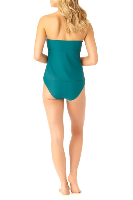 Catalina - Women's Teal Twist Bandeau Tankini Swim Top