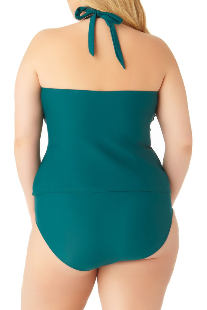Catalina Plus - Women's Plus Size Teal High Neck Keyhole Tankini Swim Top