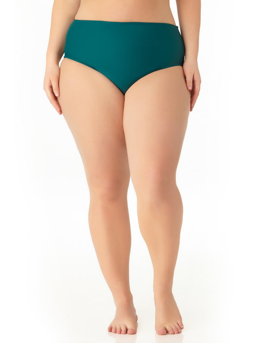 Catalina Plus - Women's Plus Size Teal High Waist Swim Bottom