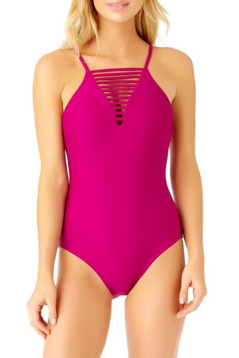 Catalina - Women's Berry Strappy Neck One Piece Swimsuit