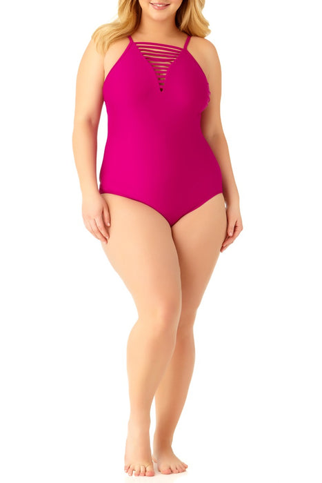 Catalina Plus - Women's Plus Size Berry Strappy Neck One Piece Swimsuit