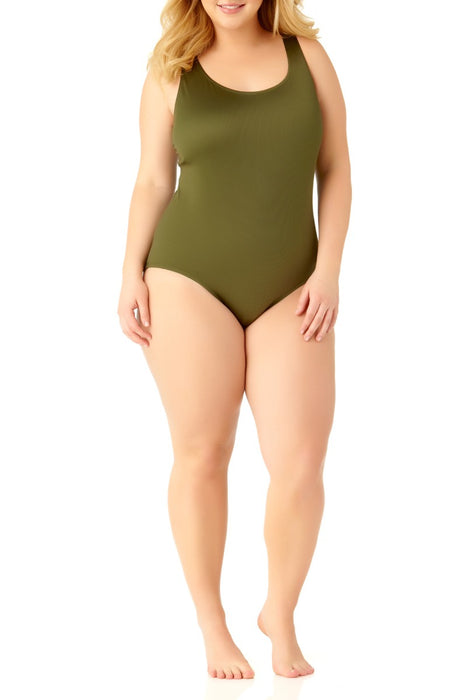 Catalina Plus - Women's Plus Size Moss Ribbed One Piece Swimsuit