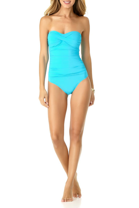Anne Cole - Shirred Bandeau One Piece Swimsuit