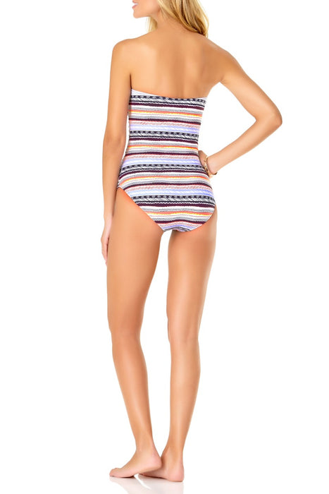 Anne Cole - Stormy Seas Stripe Twist front Shirred Bandeau One Piece