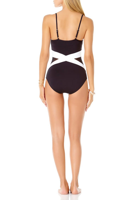 Anne Cole - Colorblock Mesh Maillot One Piece