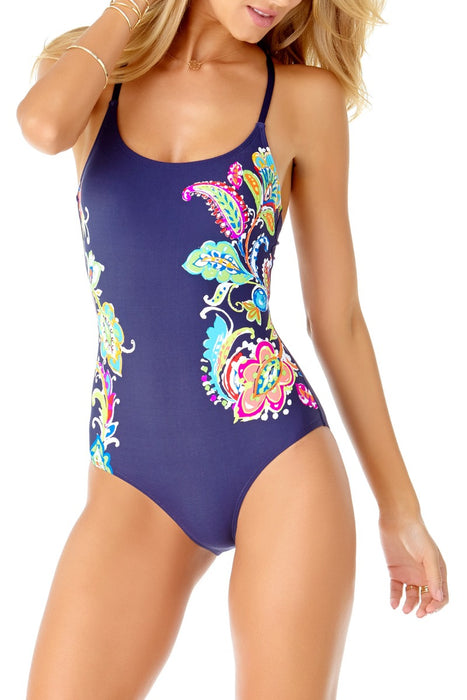 Anne Cole - Paisley Pom Lace Up Back Maillot One Piece