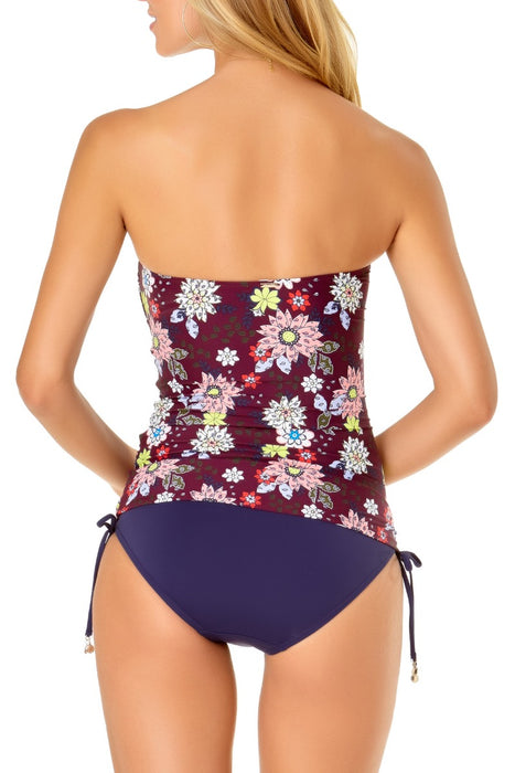 Anne Cole - In Full Bloom Twist Front Shirred Bandeau Tankini Top