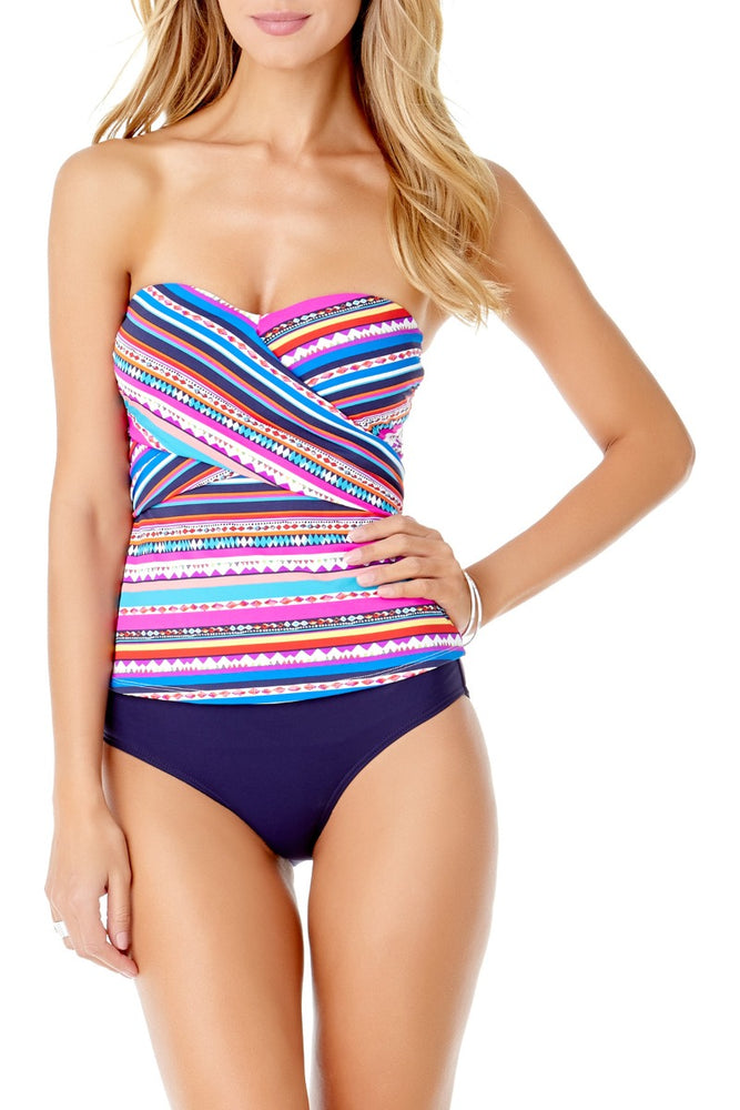 Anne Cole - Retro Braid Wrap Tankini Bandeau Top