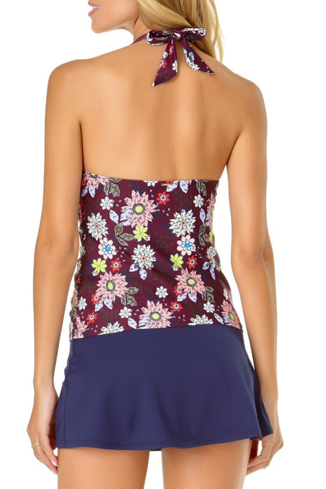 Anne Cole - In Full Bloom Shirred Front Tie Halter Tankini Top