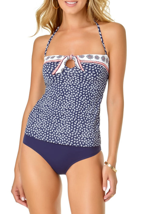 Anne Cole - Tie Front Bandeau Tankini Top