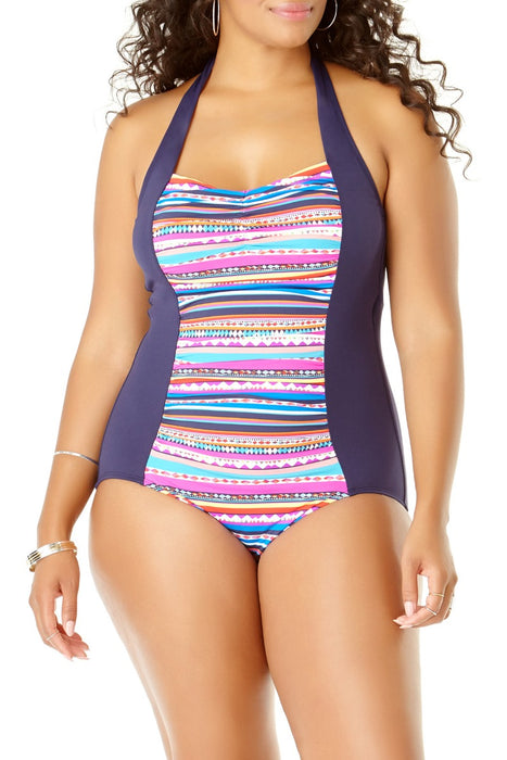 Anne Cole Plus - Retro Braid Stripe Princess Shirred One Piece