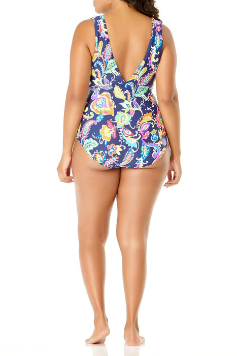 Anne Cole Plus - Paisley Pom Tunnel One Piece