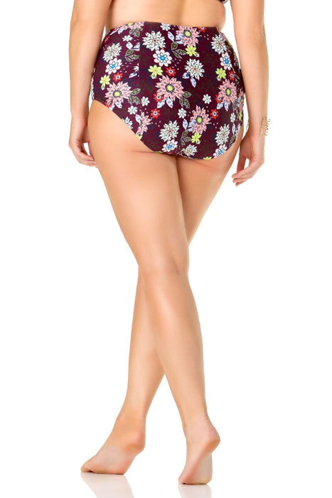 Anne Cole Plus - In Full Bloom High Waist Shirred Bottom