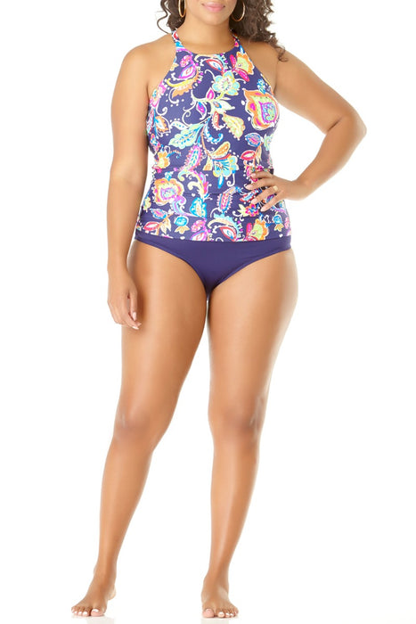 Anne Cole Plus - Paisley Pom High Neck Tankini Top
