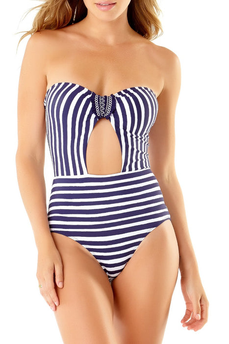 STUDIO Anne Cole - Smocked Tab Bandeau One Piece