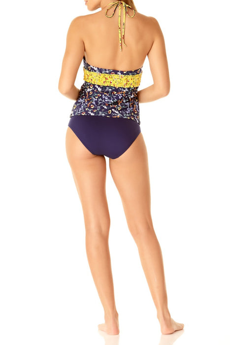 STUDIO Anne Cole - Smocked High Neck Tankini Top