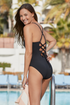 Catalina - V Neck One Piece With Lace Up Back