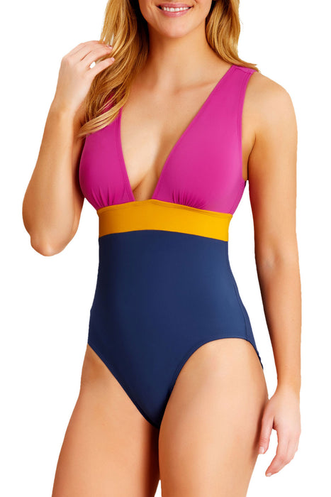 Catalina - Colorblock Plunge One Piece
