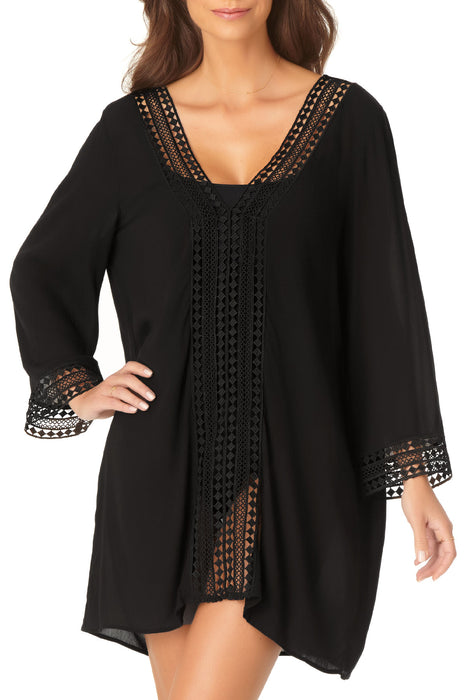 Anne Cole - Crochet Trim V Neck Tunic Cover Up