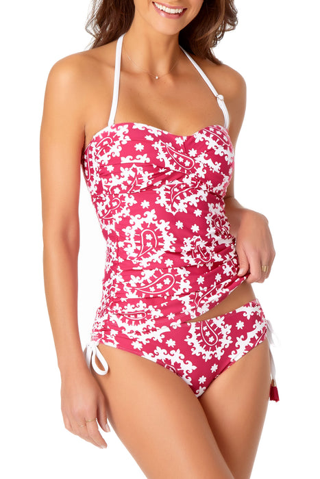 Anne Cole - Shirred Front Halter Tankini Swim Top