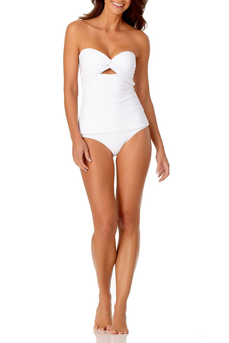 Anne Cole - Textured Twist Front Bandeau Tankini Top With Cutout