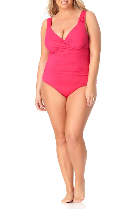 Anne Cole Plus - Underwire Twist Front One Piece Swimsuit