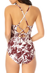 Catalina - Smocked Lace Up One Piece Swimsuit
