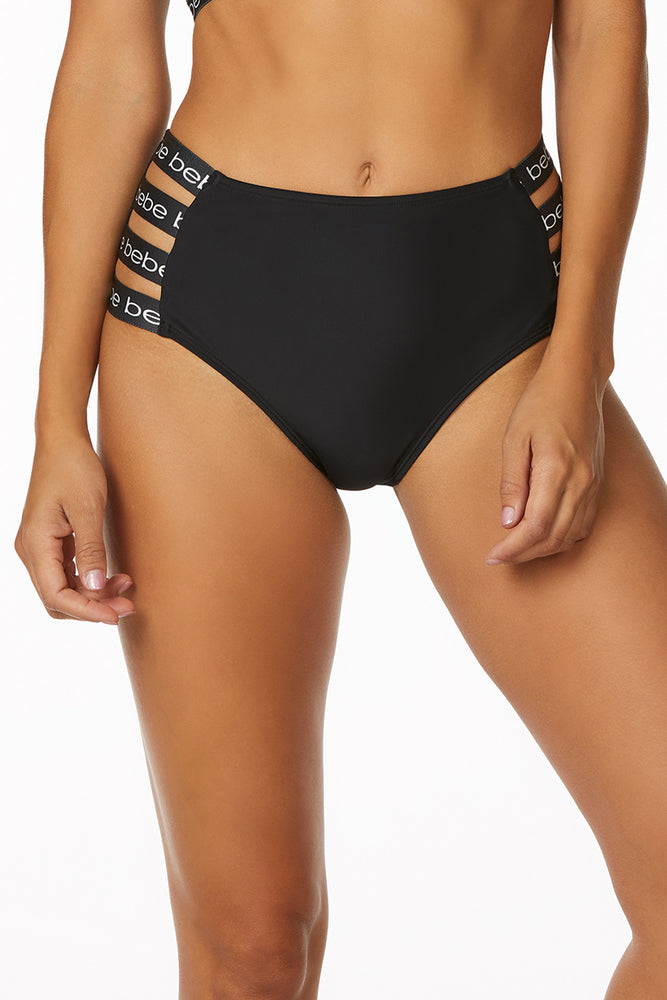 Bebe - Solid High Waisted Logo Strap Bottom