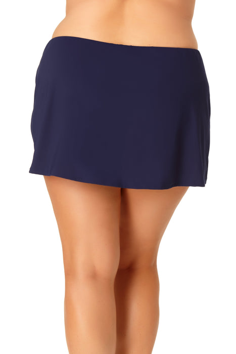 Anne Cole Plus - Adjustable Side Slit Skirted Bottom