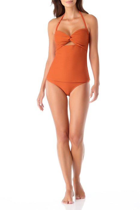 Anne Cole - Textured Twist Front Bandeau Bikini Swim Top With Cutout